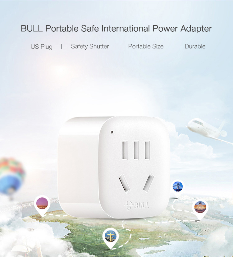 BULL GN-901A US Plug Portable Safe International Travel Power Converter Power Adapter
