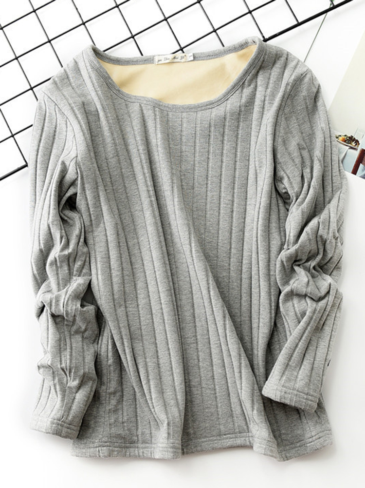 Women Casual Solid Color Thicken Crew Neck Long Sleeve Shirt