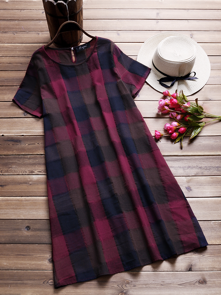 Women Cotton Casual Plaid Short Sleeves Dress