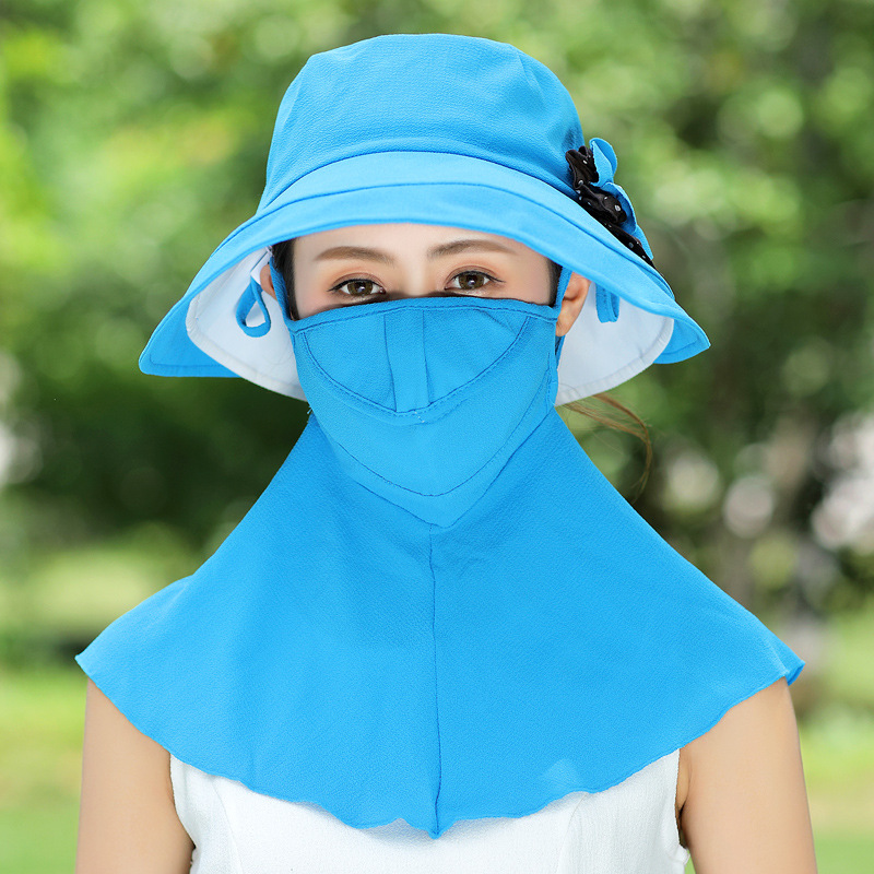 Wide Birm Bucket Sun Hat With Removable Neck And Mask Cap