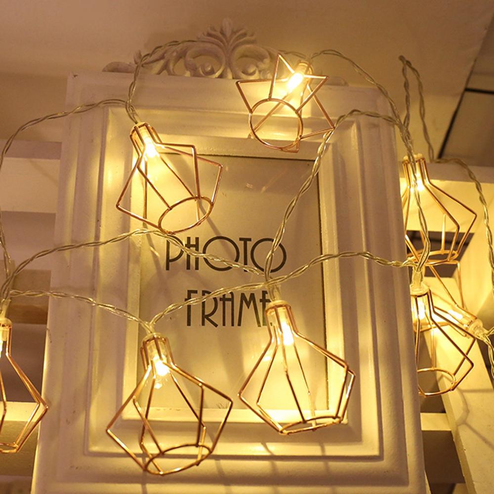 1.5M 3M Battery Operate Warm White Iron Diamond Shape LED String Holiday Light for Christmas Decor