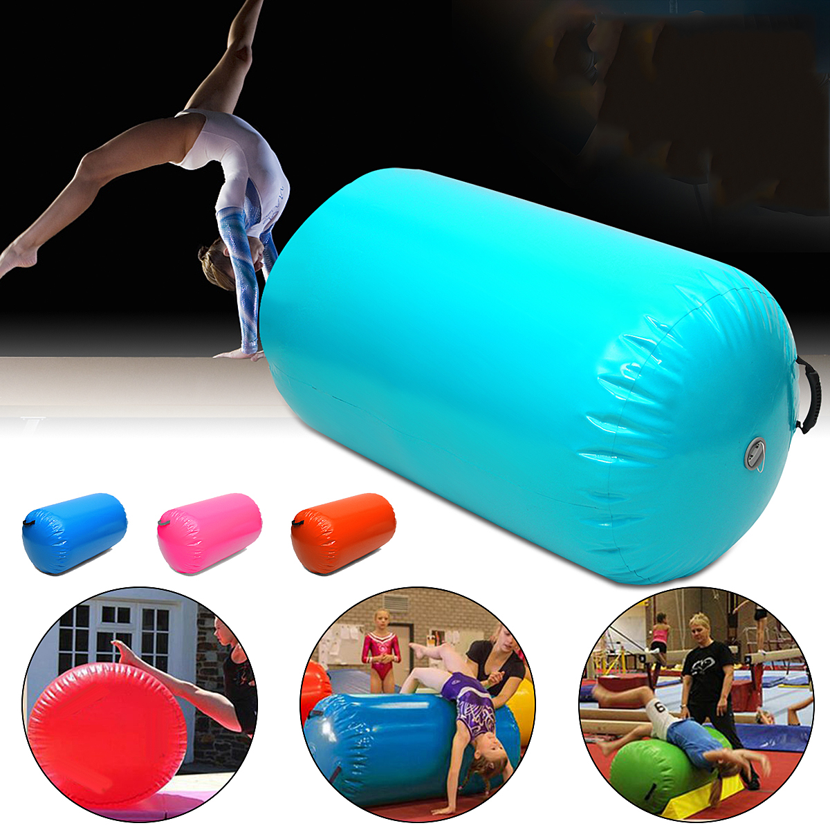 65CM Inflatable Air Track Home Roller Small Gymnastics Mat Cylinder Gym Training