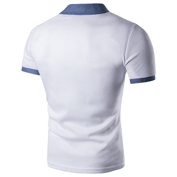 Summer Fashion Denim Splice Collar T-shirt Men's Front Pocket Short Sleeve Casual Tops Tees