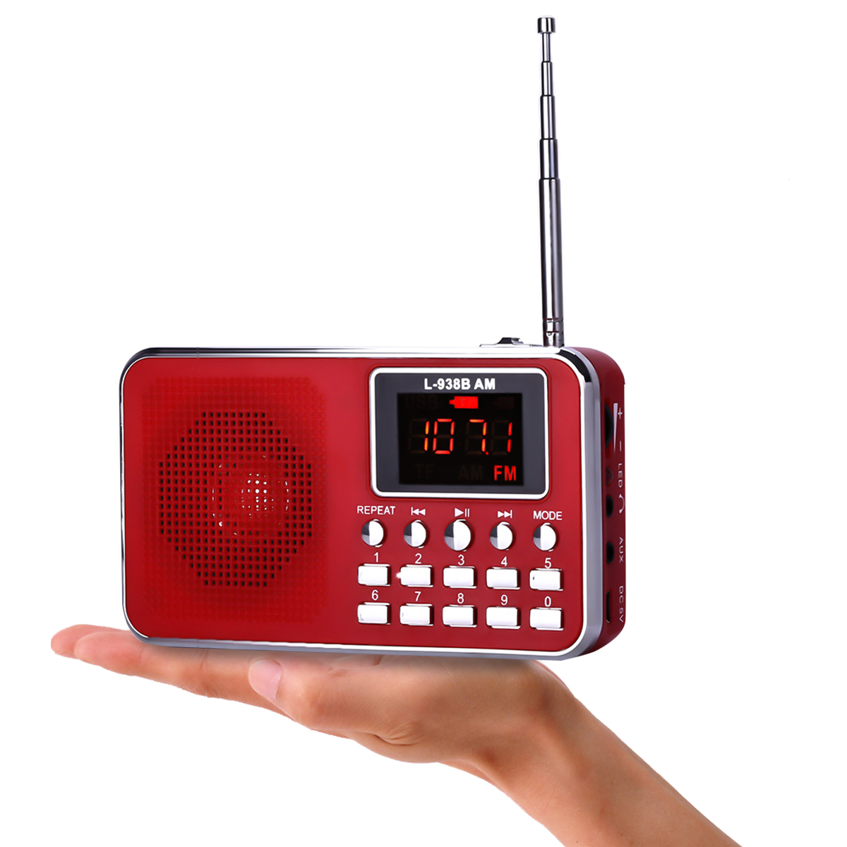 L-938B AM FM AM Mini Radio Digital LCD Speaker MP3 Music Player AUX USB TF with LED Light