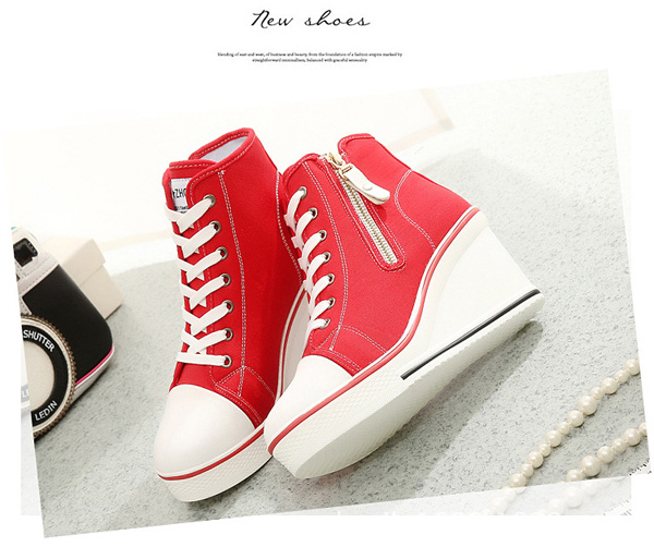 Big Size lace Up Canvas Shoes Zipper High Heels Platform Shoes