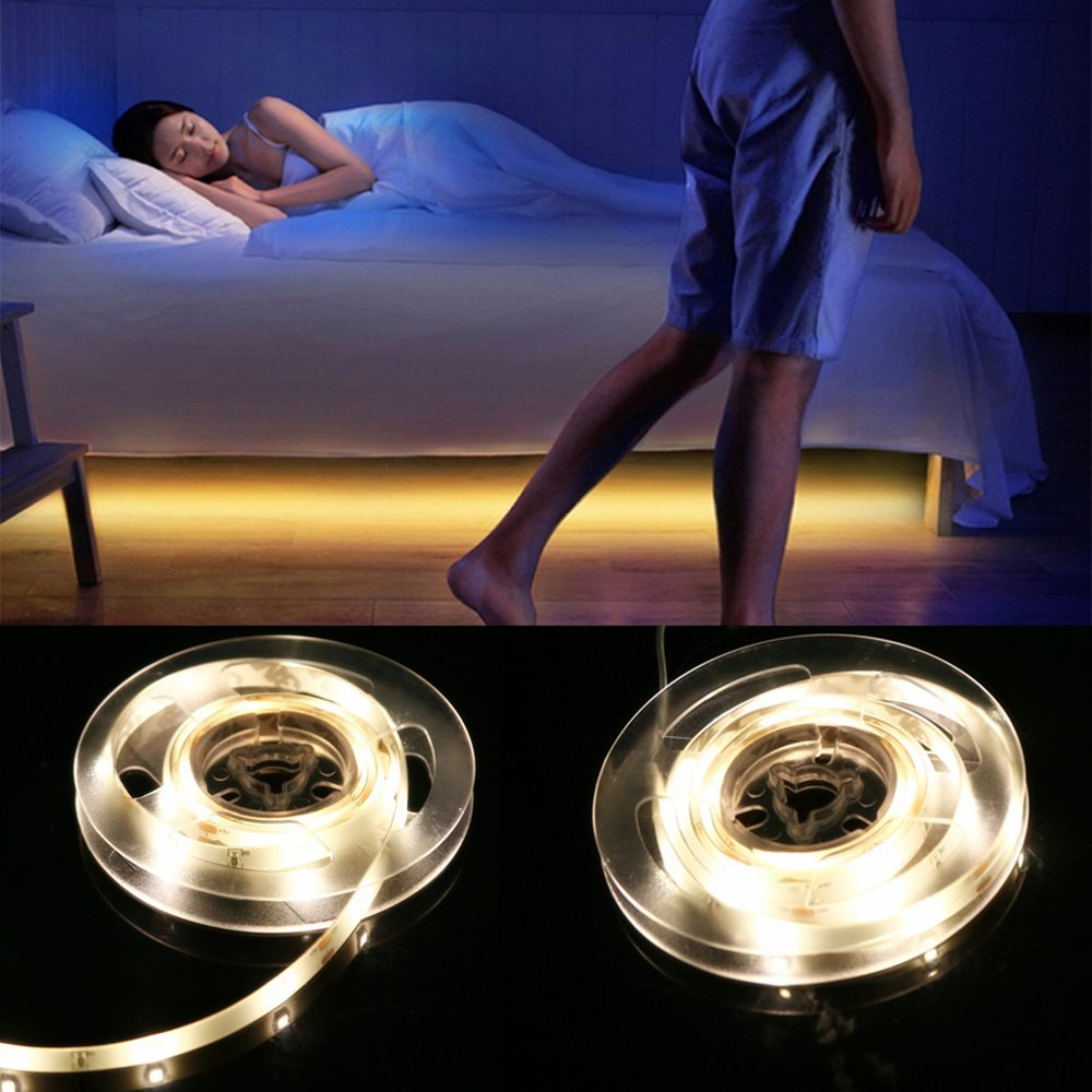 Battery Powered Motion Activated 1.5M SMD3528 Flexible USB Warm White LED Strip Bedside Night Light