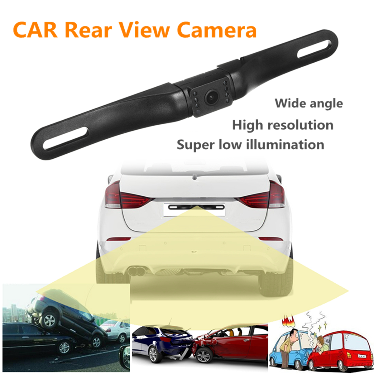 Waterproof 170 Degree Car Rear View Reverse Backup Camera License Plate Night Vision