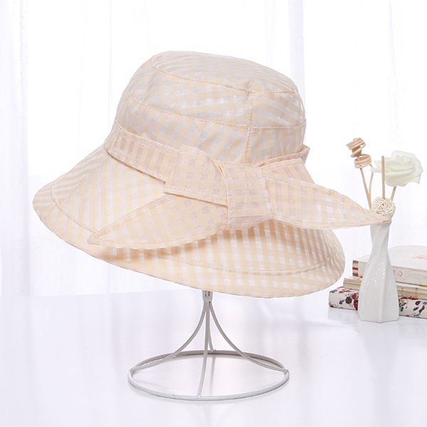 Women Plaid Wide Brimmed Sun Cap UV Resistence Bucket Hats