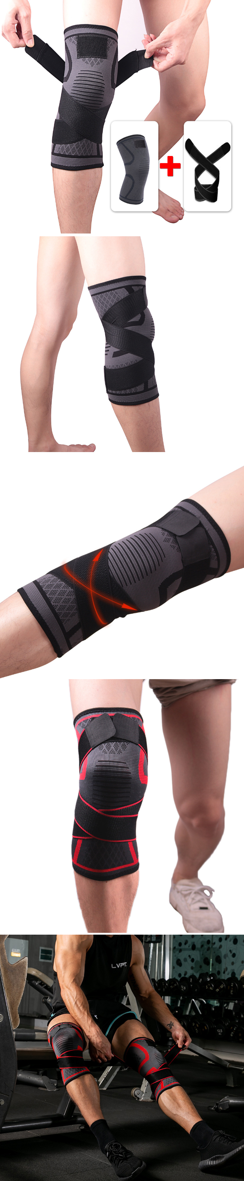 KALOAD 1 PC Knitting Knee Pad Fitness Exercise Running Cycling Elastic Knee Support Sports Knee Protective Gear