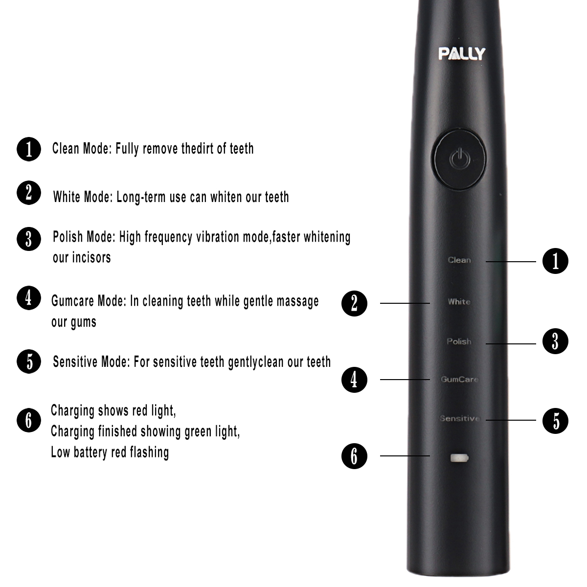 PALLY Electric Toothbrush Rechargeable Ultrasonic Vibration