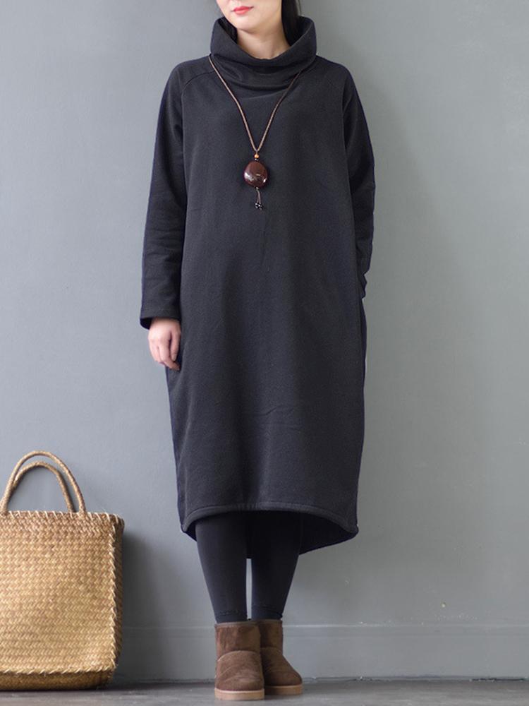 Women Thicken Turtleneck Pocket Loose Sweatshirt Dress