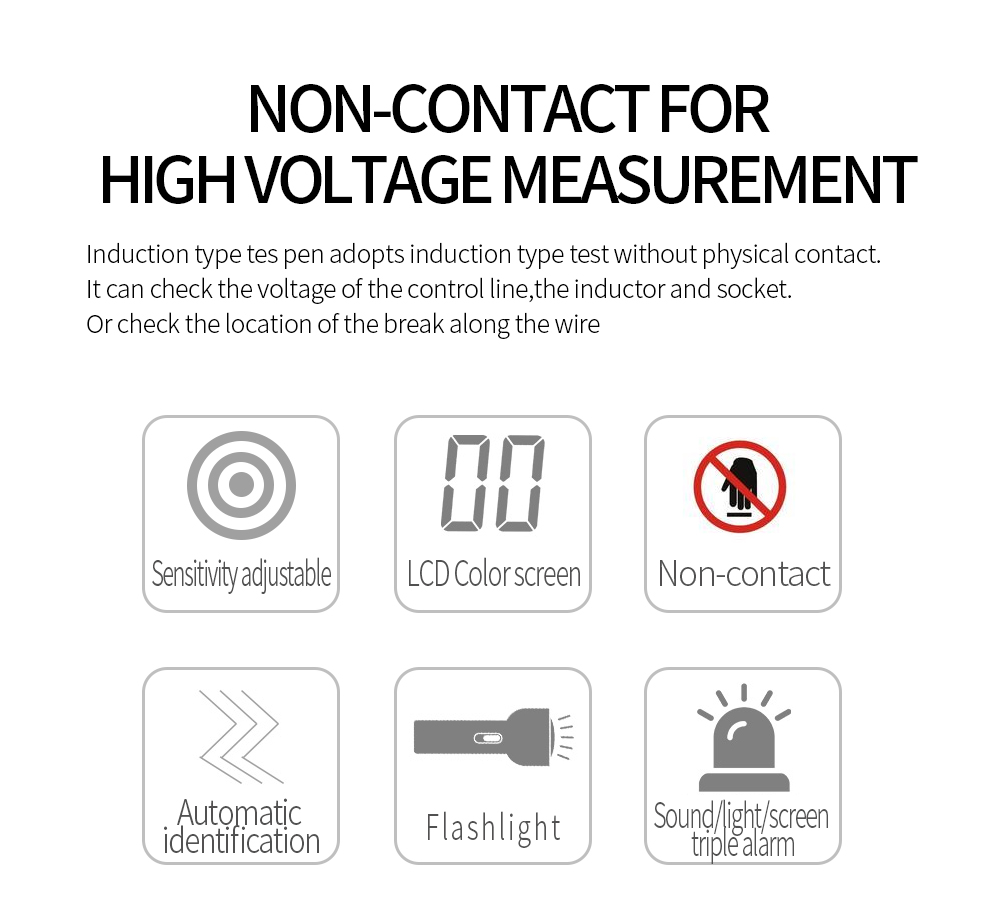WINAPEX ET8900 Non-contact Voltage Tester Pen Signal Intensity Display Sensitivity Adjustable Auto Indication Live Line Null Live Detector Backlight and Auto Power Off