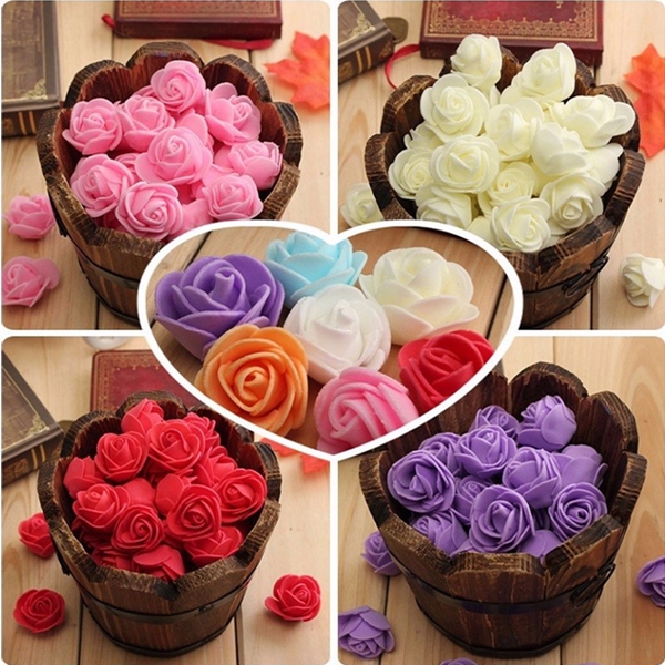 50Pcs Colourfast Handmade Foam Rose Flowers Bouquet DIY Wedding Party Decor