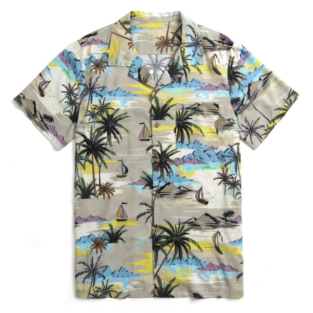 TWO-SIDED Hawaiian Style Coconut Tree Printing Beach Shirts
