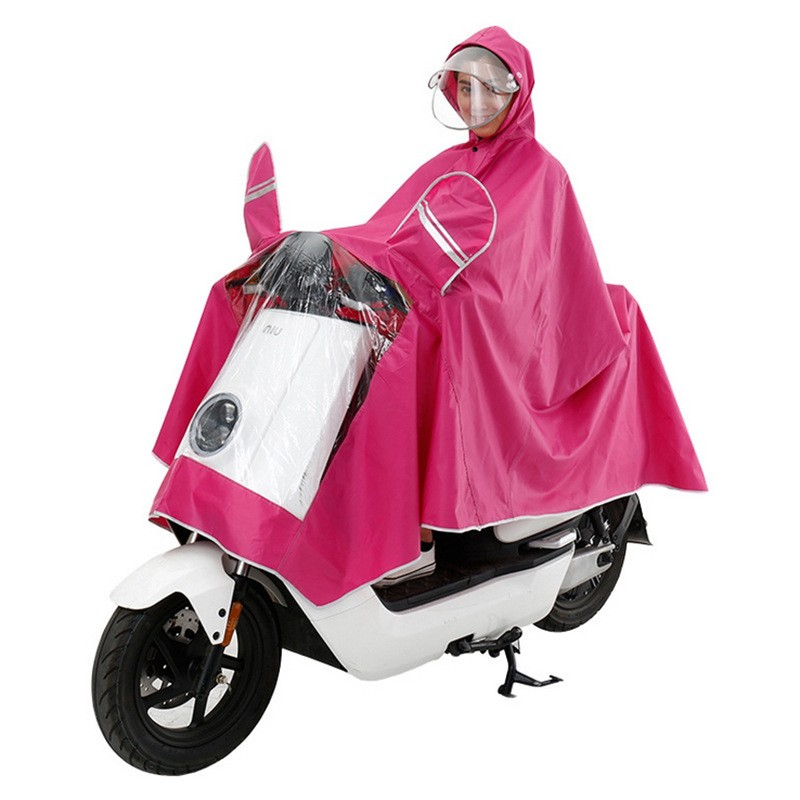 Scooter Electric Bike Rain Coat With Adjustable Face Shield Mirrors Covers