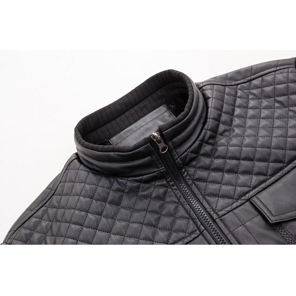 Mens Winter Warm Velvet Plus Thick Stand Collar Zipper PU Leather Jacket