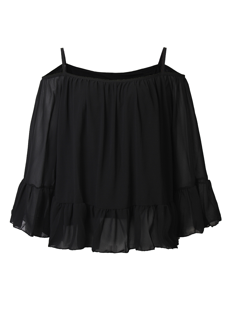 Casual Women Strapless Chiffon Long Sleeve Ruffles Halter Tops