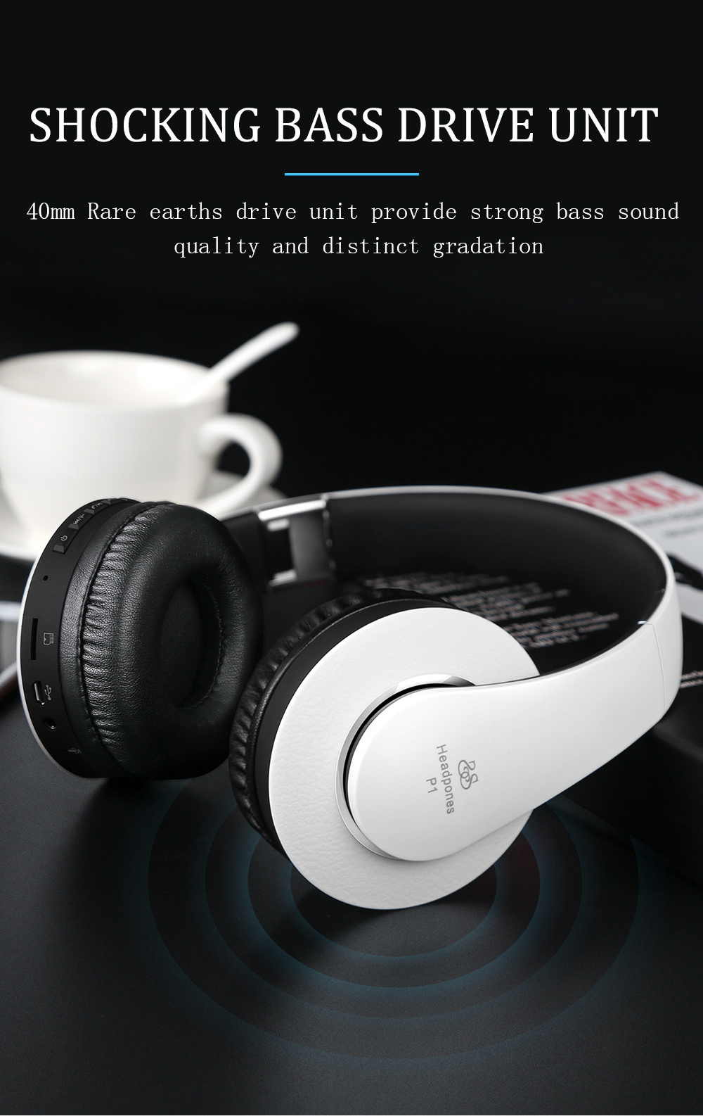 Sound Intone P1 bluetooth 4.0 Wireless FM TF Headphone Headset Shocking bass With Mic