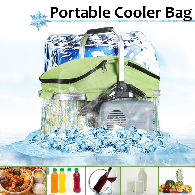 18L Portable Folding Car Cooler Outdoor Camping Picnic Ice Pack With Car Charger Car Refrigerator