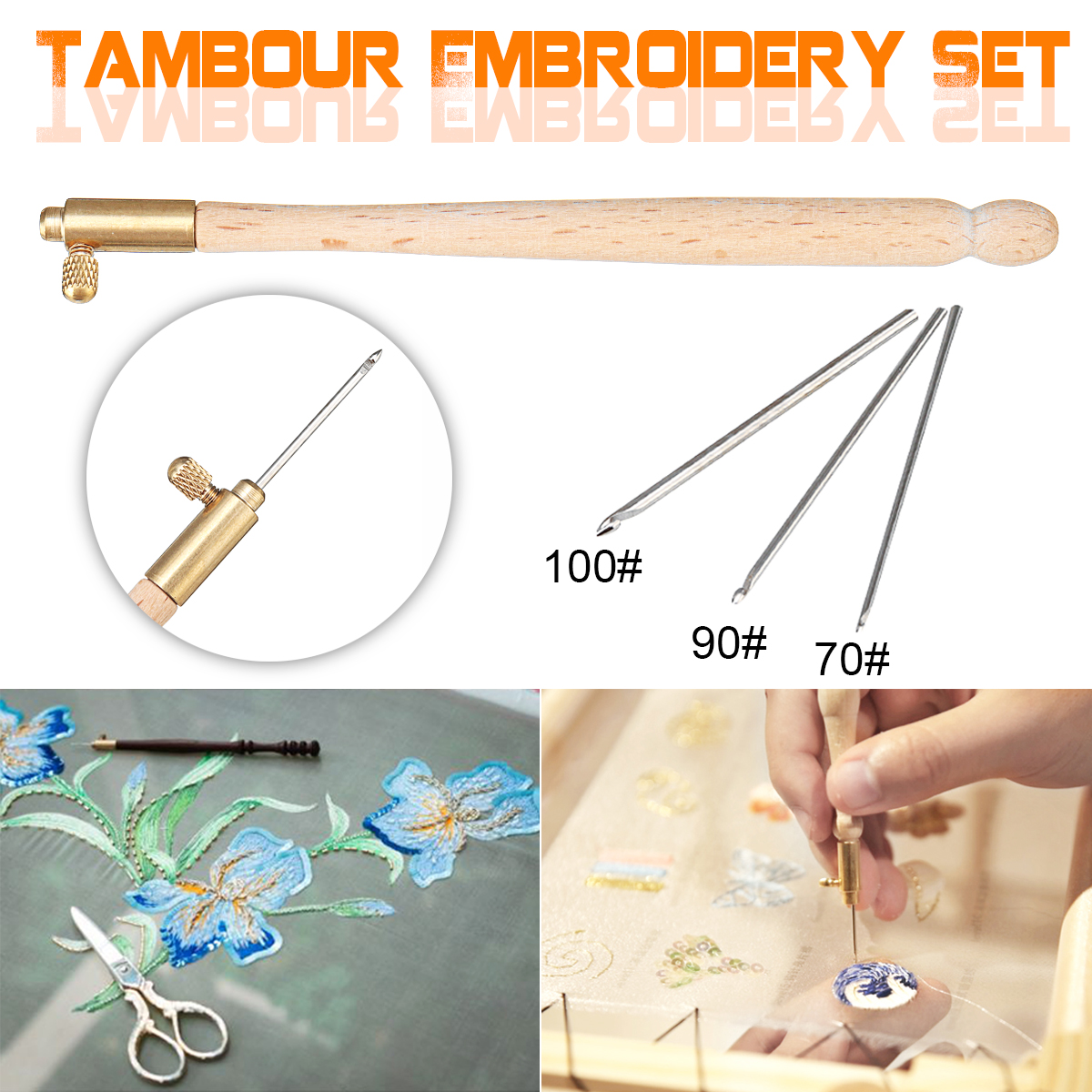4 Pcs Needle Set 70 90-120 Wood Handle-Three Needles Tambour Embroidery Crochet Hook Toolkit