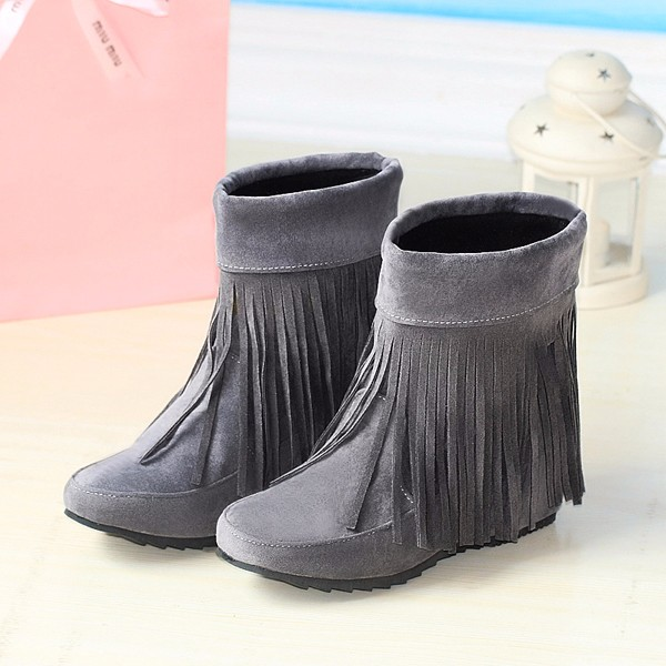 US Size 5-12 Women Suede Boot Outdoor Casual Fashion Tassels Comfortable Short Boots