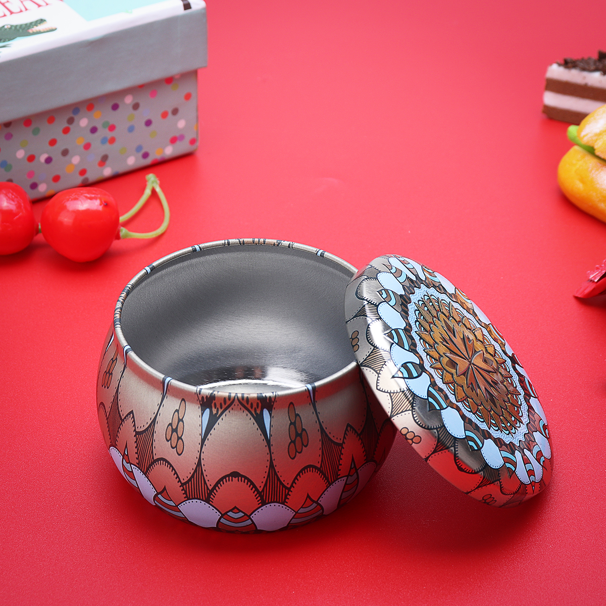 Retro Round Tin Box Tea Candy Jewelry Coin Storage Container Case Wedding Favors