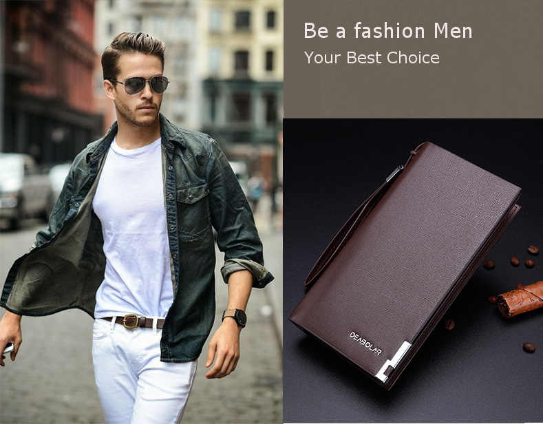 Men Multi Card Slots PU Leather Wallet Long Purse Phone Bag for Xiaomi Samsung iPhone
