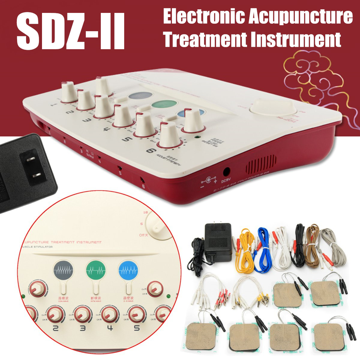 Electronic Acupuncture Massager Treatment Instrument Muscle Stimulator Therapy SDZ-II 10VA