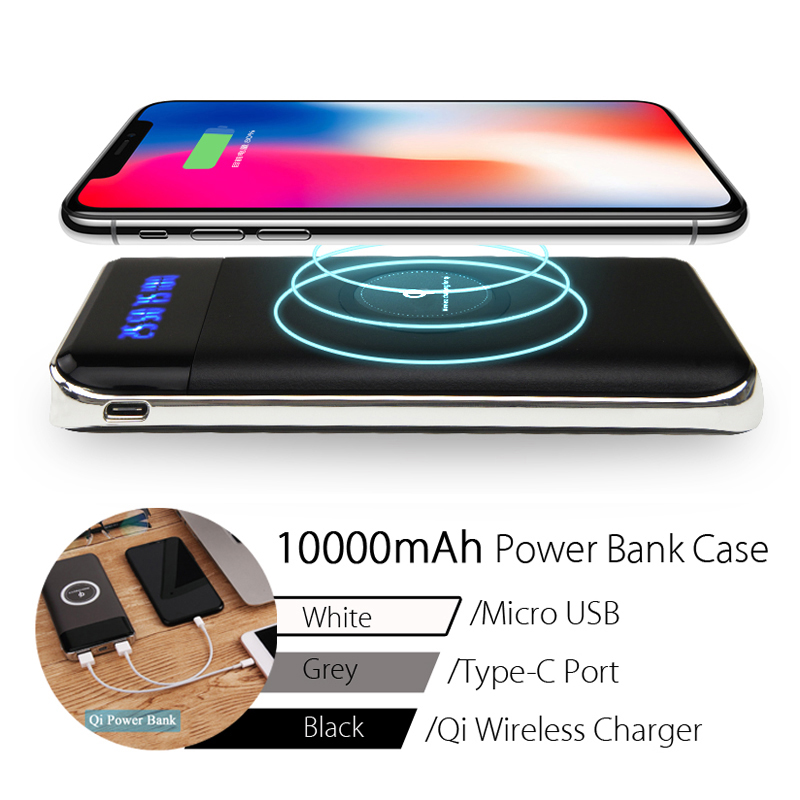 Qi Wireless Micro USB Type-C 10000mAh DIY LED Pwer Bank Case Charger for Samsung S8 iPhone X 8