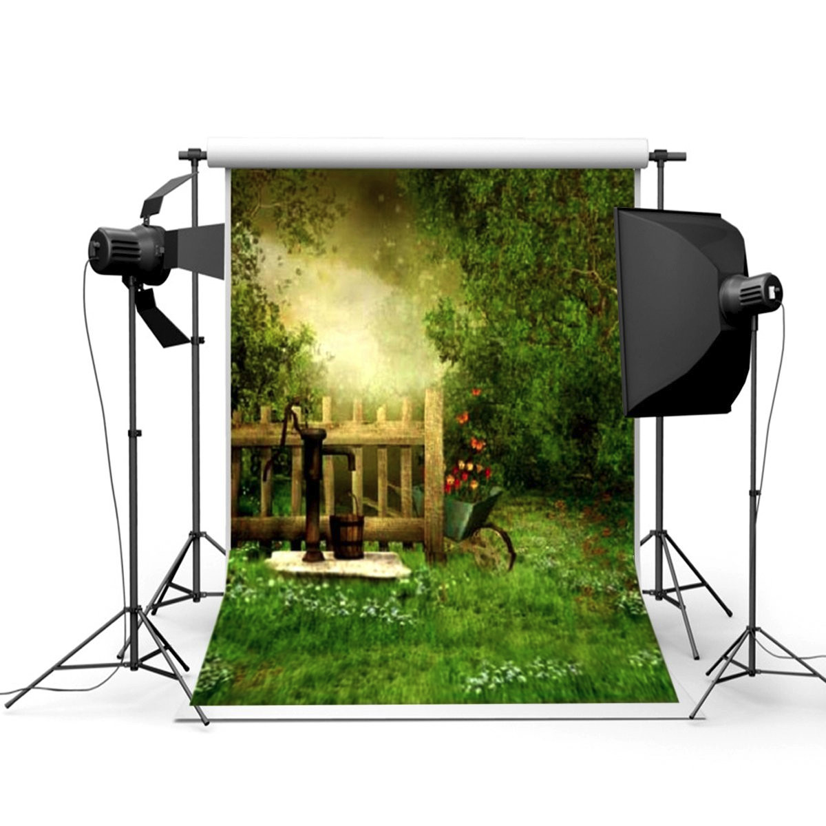 3x5Ft Outdoor Spring Fence Photography Background Backdrop Studio Prop
