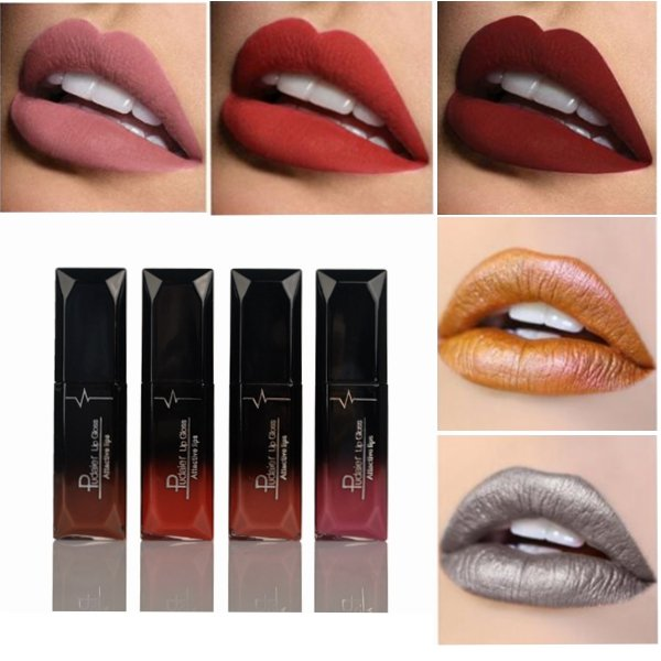 Matte Liquid Purple Lipstick Makeup Waterproof Dark Lip Gloss Tint Cosmetics Nude 6 Colors