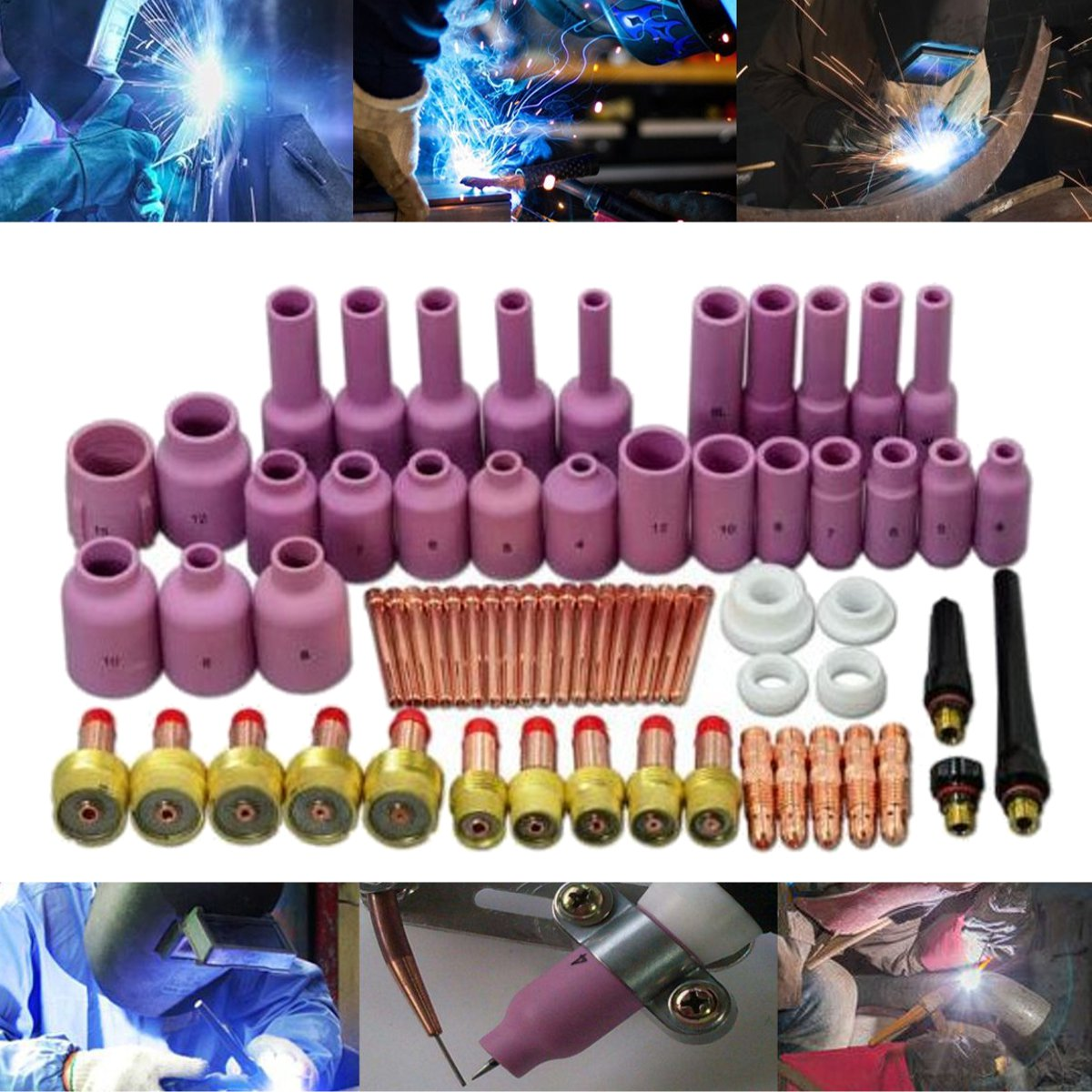 67Pcs TIG Welding Torch Nozzle Stubby Gas Lens Kit for WP-17/18/26