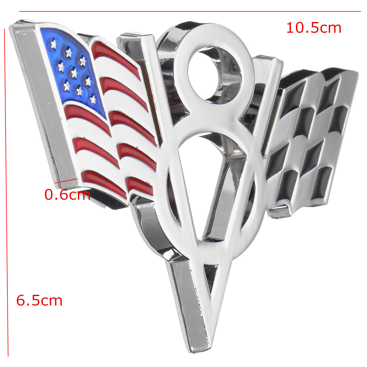 Metal V8 American Flag Motorcycle Decoration Stickers Car Emblem Badge Decals
