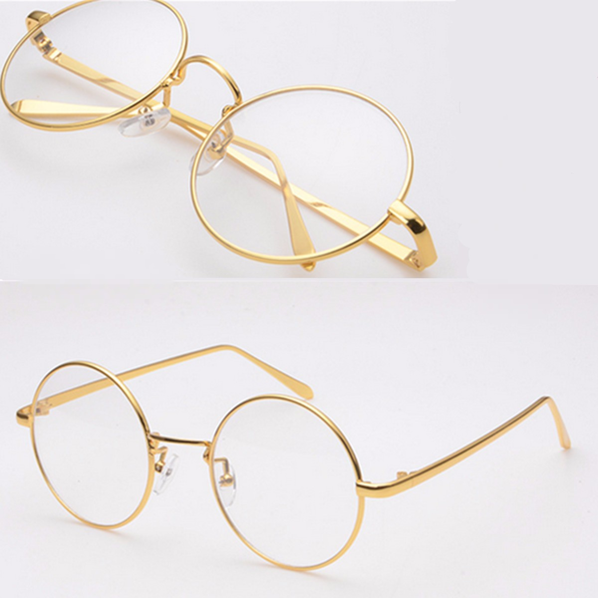 af8672fac477 GOLD Metal Vintage Round Eyeglasses Frame Clear Lens Full-Rim Glasses