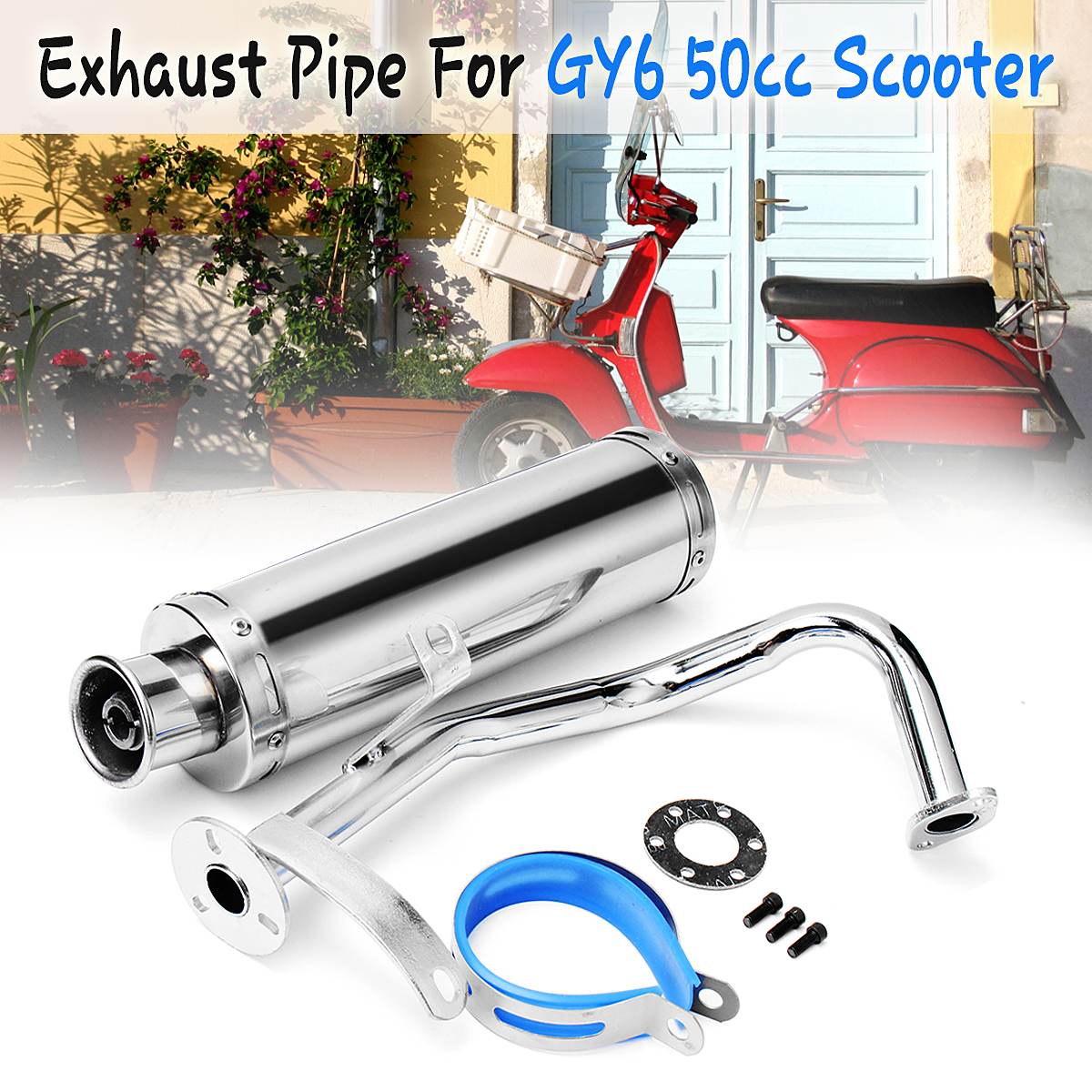 GY6 50cc 100cc Scooter Performance Exhaust Muffler Stainless Pipe 88*300mm