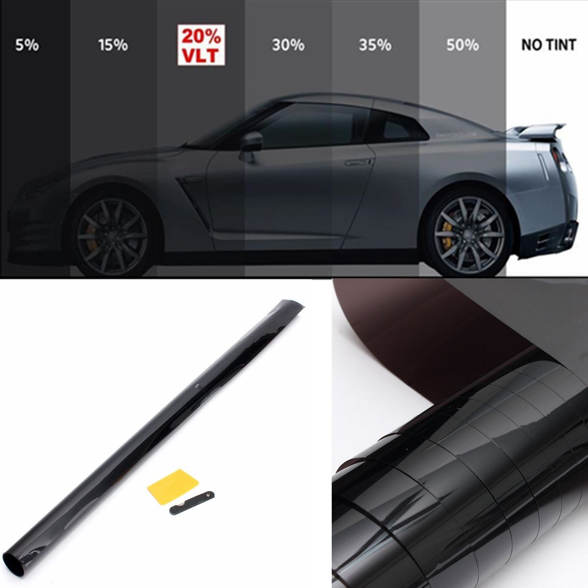 3m x 75cm 20% Car Auto Van Window Tint Film OneWay Mirror Tinting Foil