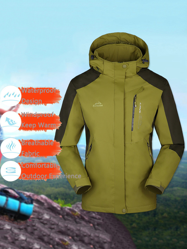 M-5XL Womens Outdoor Waterproof Windproof Detachable Hooded Climbing Jackets