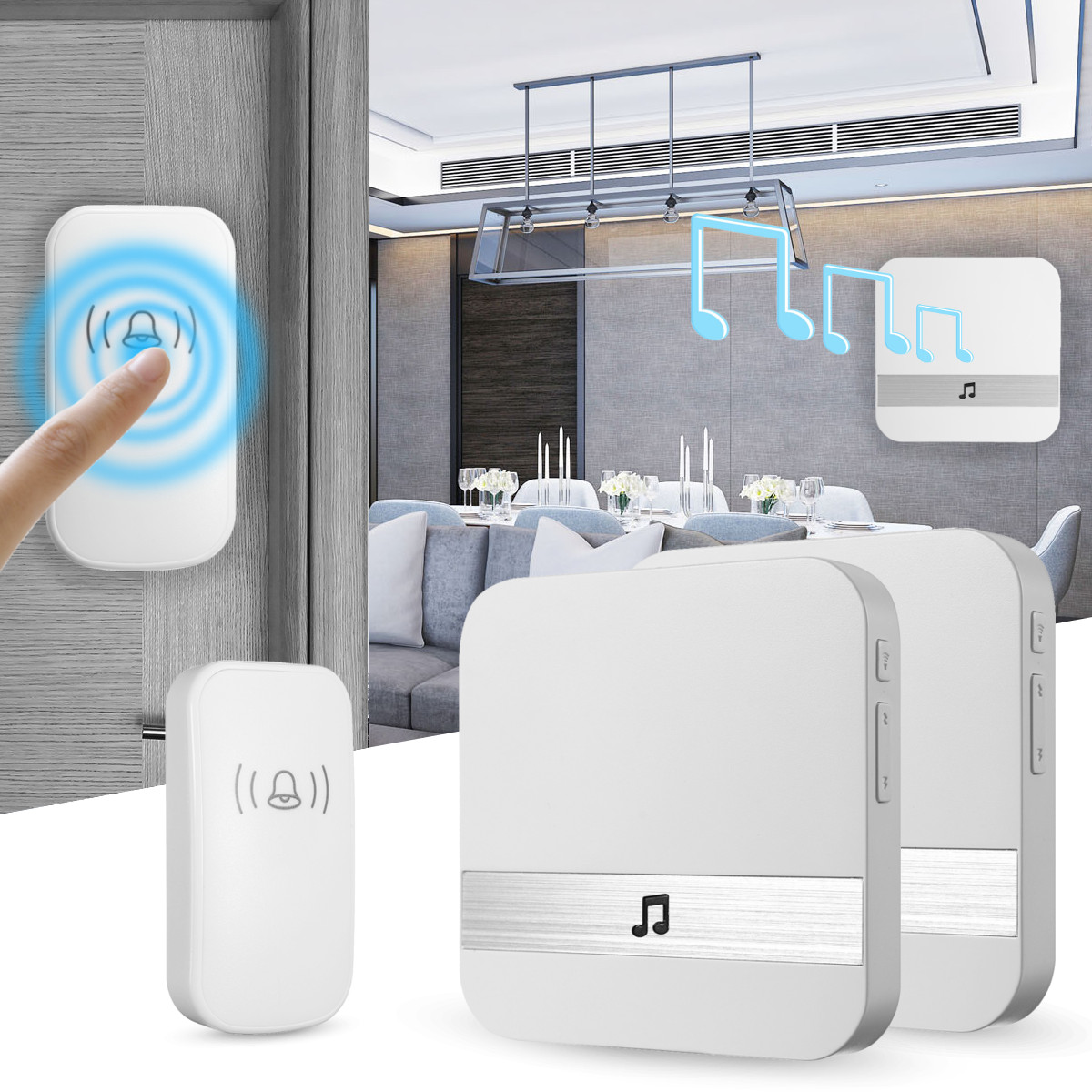 Home House 4 Volume Wireless Doorbell Chime 2 Plugin Re