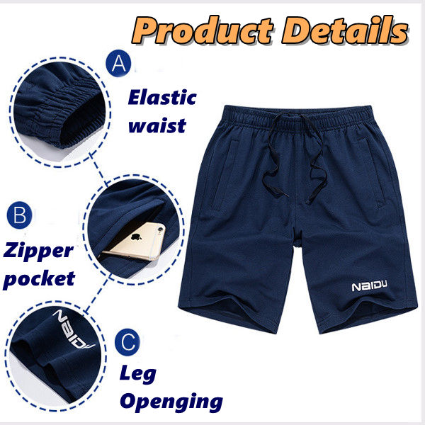 Summer Mens Casual Sports Shorts Loose Knee Length Solid Color Cotton Shorts
