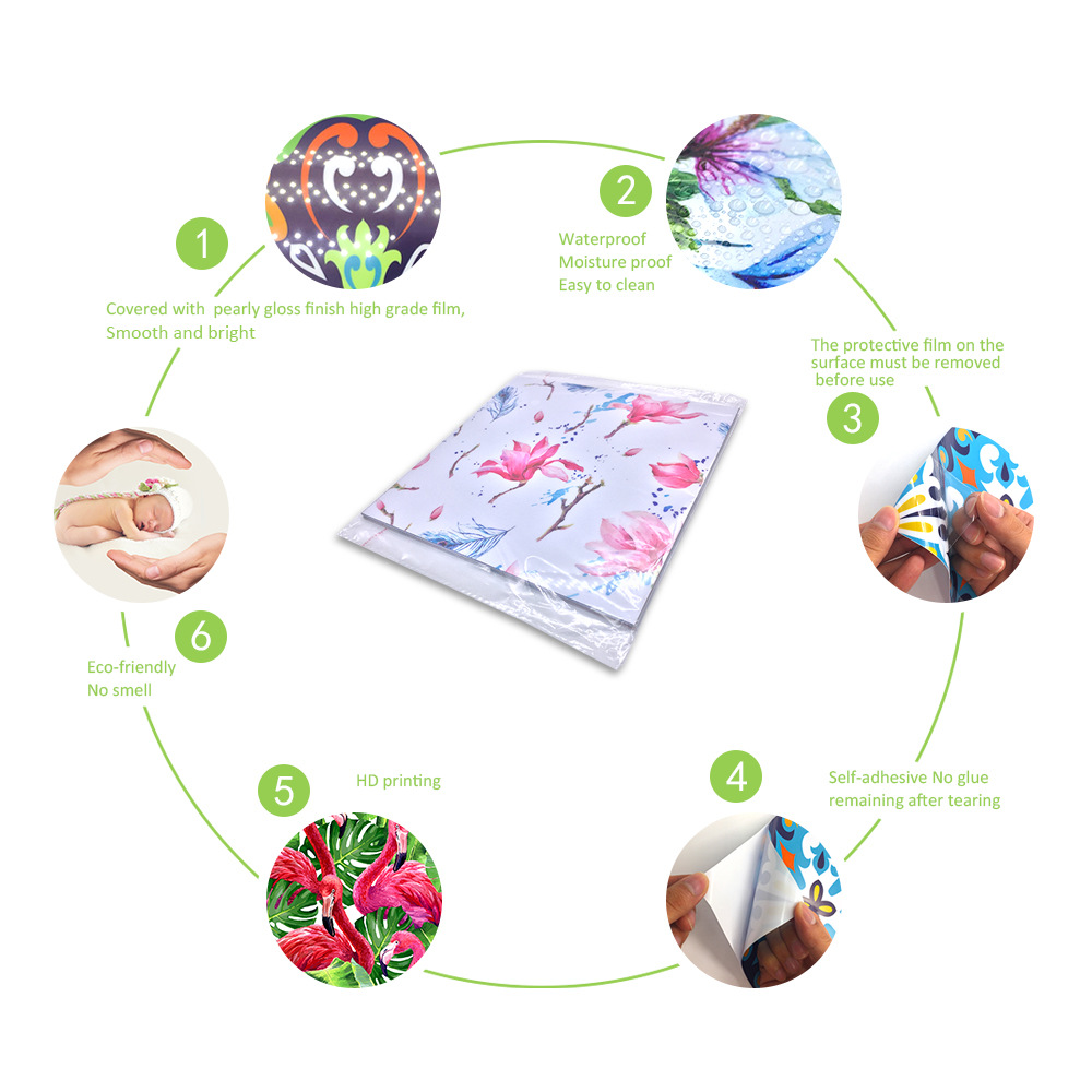 10Pcs Magnolia Kitchen Waterproof Tile Stickers Gift Packaging