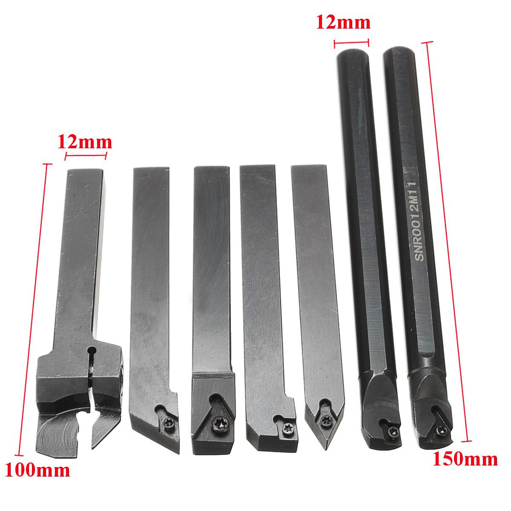 7pcs 12mm Shank Lathe Boring Bar Turning Tool Holder Set With Carbide Inserts