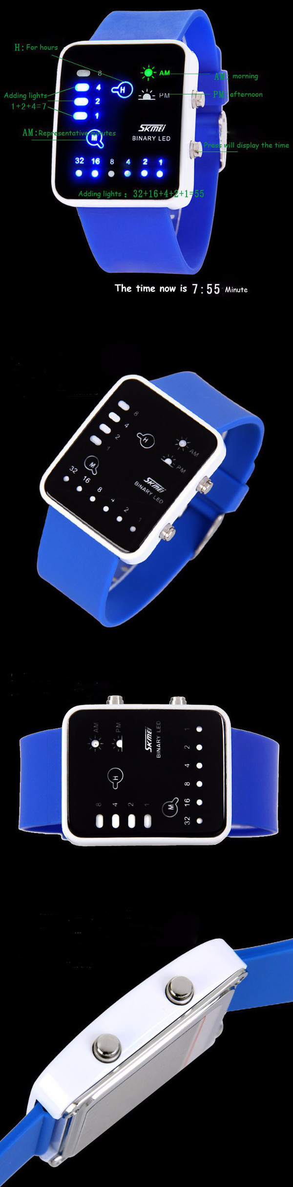 SKMEI 0890 LED Digital Rubber Band Waterproof Jelly Fashion Wrist Watch