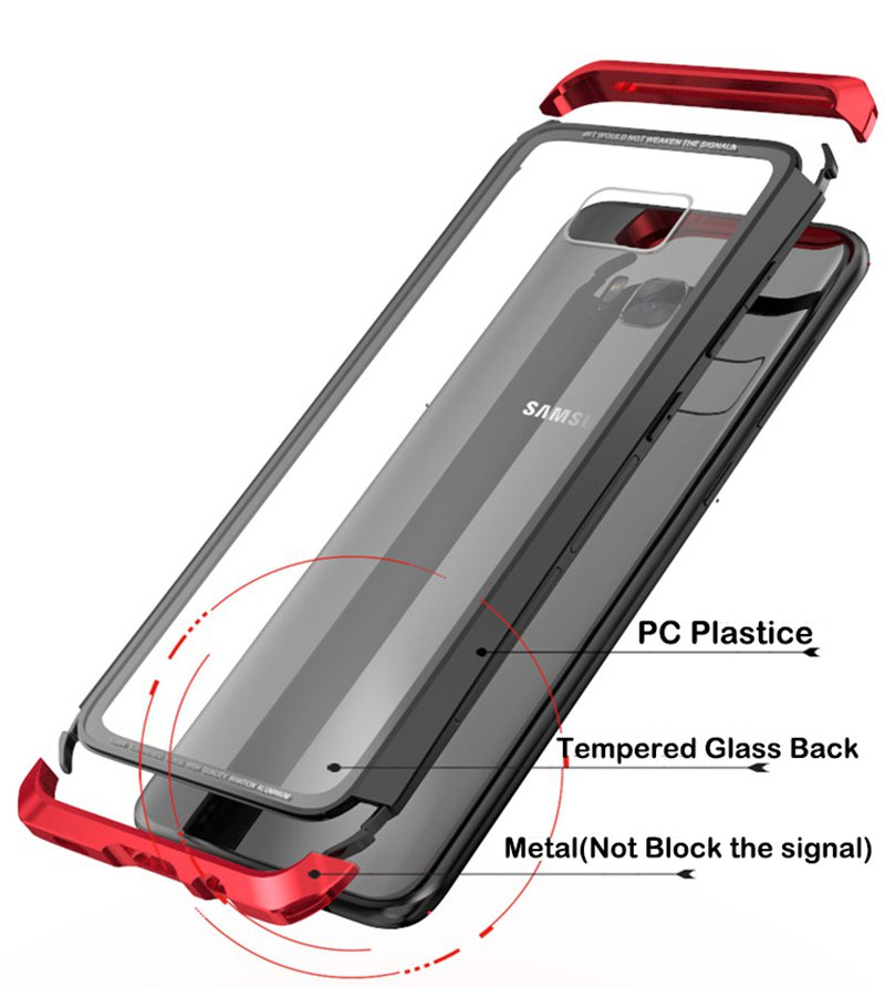 Luphie Metal Bumper+9H Tempered Glass Back Cover Case For Samsung Galaxy S8