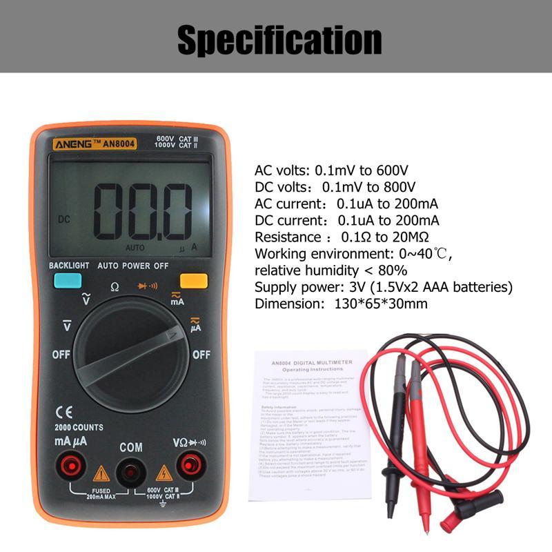 AN8004 Auto Range Digital Multimeter Backlight AC DC Ammeter Voltmeter Meter Resistance Tester Orange