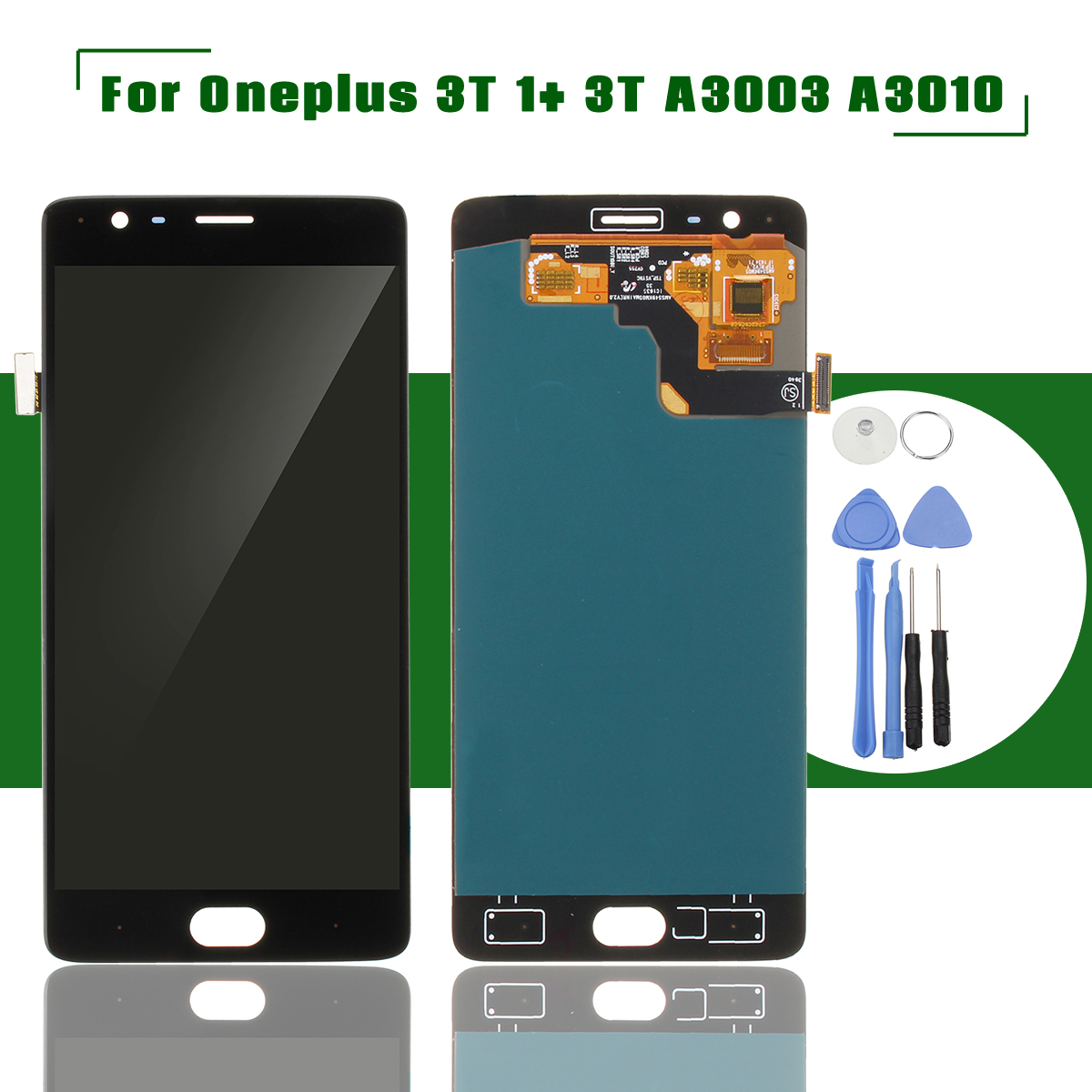 OLED Black LCD Display+Touch Phone Screen Digitizer Assembly Replacement With Tools For One Plus 3T