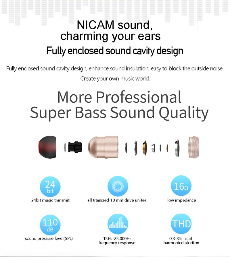 Binai A1 Outdoor Sport IPX4 Water-proof Magnetic Noise Cancelling bluetooth Earphone Earbud with Mic
