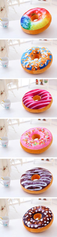Honana WX-333 40cm Colourful Plush Creative 3D Squishy Donut Throw Pillow Sofa Car Cushion Valentines Gift