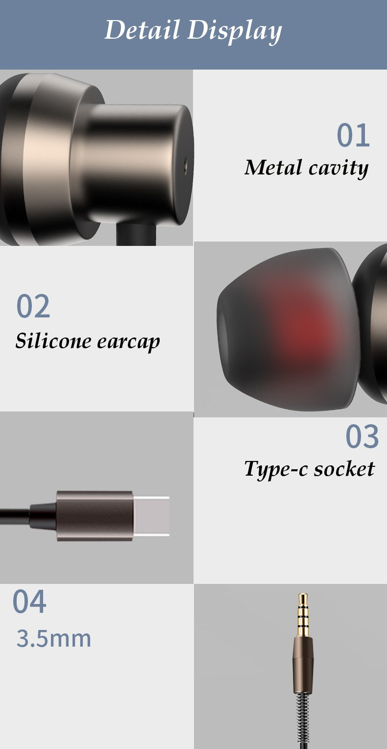 Bakeey Type-c Earphone Metal Stereo Surround Sound Sports With Mic For Xiaomi Note3 mix2 Huawei