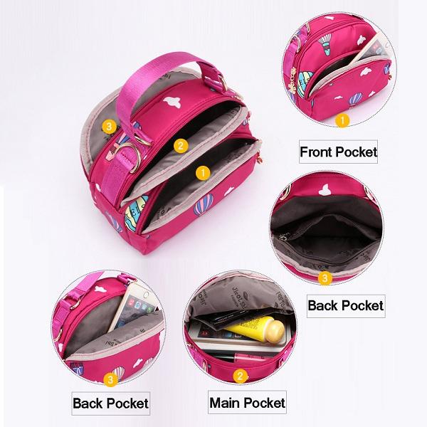 Women 3 Zipper Layer Functional Mini Handbag Shoulder Bag