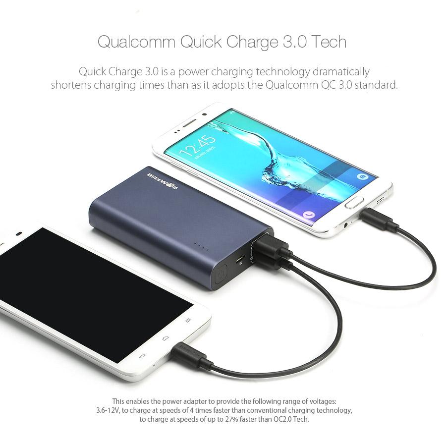 BlitzWolf® BW-P3 10000mAh 18W QC3.0 Dual Usb Port Power Bank for iphone 8 8 Plus iphone X Xiaomi Samsung